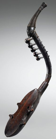 """Anthropomorphic Harp, c. 1860, Zande people, Central African Republic. 