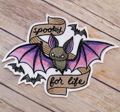 Spooky for Life - Pink Purple Vampire Bat Iron On Embroidery Patch MTCoffinz - Choose Size by MTthreadz on Etsy https://www.etsy.com/listing/491126299/spooky-for-life-pink-purple-vampire-bat