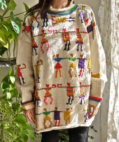 Dancing Rainbow Figures Sweater от PrismOfThreads на Etsy