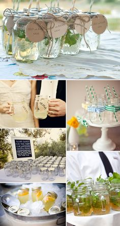 Mason Jars are definitely a staple of any rustic and/or Southern-style wedding. Frankly, they're a staple of life  in Tennessee, so I just love seeing all the amazing ways people use them in their weddings. Enjoy...1. For Drinks{Image credits, from top left: PoppyandPearlCo on Etsy, The Berry, Joyful Weddings
