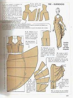 """Моделирование из """"Metodo Practico de Сorte y confeccion"""" Dress Sewing Patterns, Barbie Patterns, Clothing Patterns, Drape Dress Pattern, Cloak Pattern, Bodice Pattern, Sleeve Pattern, Pants Pattern, Sewing Hacks"""