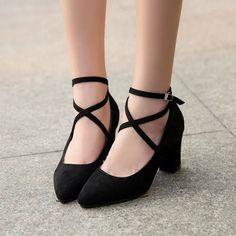 "Black/grey heels shoes SE9865        Coupon code ""cutekawaii"" for 10% off"