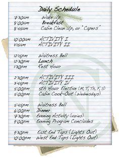 yw girls camp sample schedule