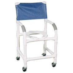 "Standard Shower Chair - PVC -   Comes assembled except for the casters. Standard. Healthcare grade deluxe elongated open front seat enhances resident comfort. Anti-slip handigrips. Fast drying removable mesh back/sling. Reinforced at all stress related areas. nternal width: 18"". External width: 22"". Threaded stem casters: 3"" x 1""."
