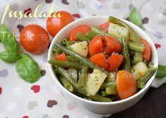 Insalata di verdure Tricolore con fagiolini patate e pomodori, ricetta light per una gustosa insalata pensata con i colori dell'italia.