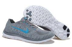 4dffd2f632c Men s Nike Free 4.0 Flyknit V2 light Grey blue Running Shoes Mens Running