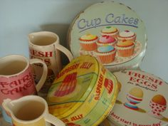 picture tins and tiny jugs, cupcakes, jelly, eggs, baking
