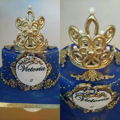 Gold and purple blue Cake .  Royal Queen Cake with tiara
