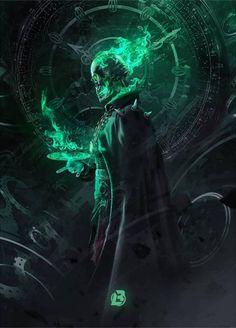 Doctor Rider (Doctor Strange x Ghost Rider mashup) by BossLogic : Marvel Dark Creatures, Fantasy Creatures, Dark Gothic, Dark Fantasy Art, Dark Art, Fantasy Character Design, Character Art, Ghost Rider Wallpaper, Lich King