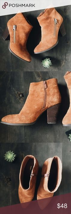 Suede Brown Heel Zipper Booties Only worn about 5 times. I just found a bootie I liked more. Otherwise they're perfect! Real suede. Very Volatile Shoes Ankle Boots & Booties