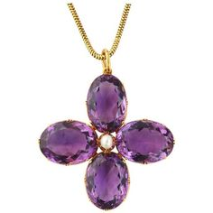 Preowned Victorian Amethyst And Natural Pearl Pendant Necklace And... ($8,800) ❤ liked on Polyvore featuring jewelry, necklaces, pendant necklaces, purple, antique amethyst necklace, chain necklace, flower necklaces, pearl necklace and pearl chain necklace