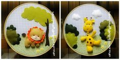 felt animals on embroidery loop