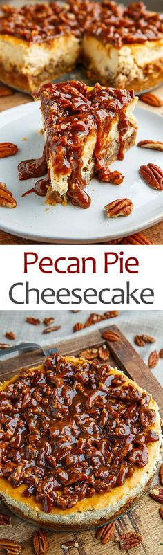 Pecan Pie Cheesecake with Pecan Caramel Sauce - Kochen, Backen und Essen - Pecan Recipes Pecan Recipes, Sweet Recipes, Baking Recipes, Sausage Recipes, Pie Recipes, Chocolate Recipes, Salad Recipes, Chicken Recipes, Recipies
