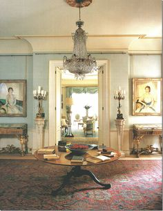 Like the light blue color on the walls. Morning Room by Clarence House with amazing architectural details, a beautiful hall table, gorgeous crystal chandelier and so much more! Clarence House, Interior Exterior, Home Interior, Interior Design, Classic Interior, Design Art, Regency Furniture, English Decor, English Interior