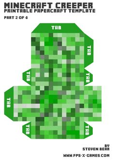 Papercraft creeper body template 2 of 4