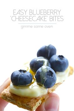 """Easy Blueberry """"Cheesecake"""" Bites -- all you need are 4 ingredients to make this quick and easy dessert/snack"""
