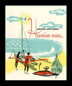 1957 in-flight menu, front cover  in-flight menu from United Airlines- Mainland to Hawaii flights