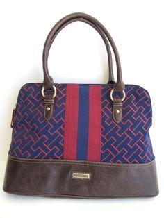 Tommy Hilfiger Signature Satchel Handbag Purse, Burgundy/ Navy/ Brown