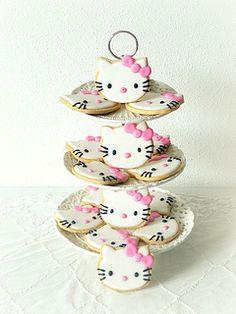 Hello Kitty Cookies www. Hello Kitty Theme Party, Hello Kitty Themes, Hello Kitty Cake, Hello Kitty Birthday, Luau Cookies, Galletas Cookies, Cupcake Cookies, Birthday Cake For Cat, Girl Birthday