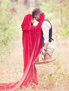 We all know the story of little red riding hood and the big bad wolf. We love the twist this couple took with their costumes, instead of a wolf suit they dressed him nicely with mussed hair and yellow eyed contacts! See more details of their outfits here, captured by Three Nails Photography. Learn how to make your own gorgeous cloak here.