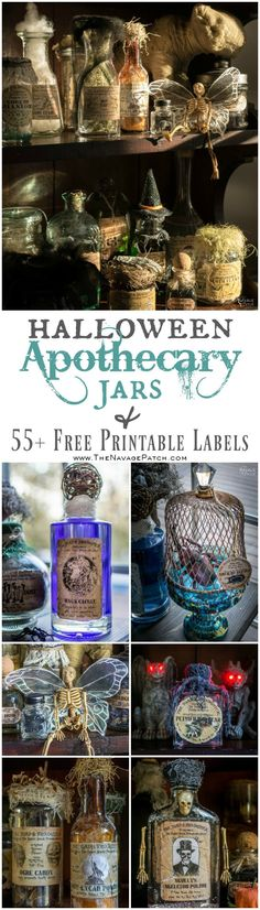 Halloween Apothecary Jars {and Free Printable Labels} | DIY Halloween decor | Harry Potter theme | Free Halloween printable with over 80 jar labels | Potions and spells | DIY Apothecary jars decor | DIY Halloween prop | Spooky and fun witches kitchen | Grimm - Rosalee's spice shop | TheNavagePatch.com