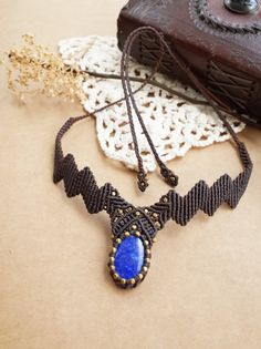 Lapis Lazuli Macrame Necklace / Choker / Macrame by CTheSoulOfMoon