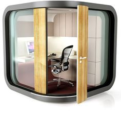 """Transformer Furniture, Future Kitchens and Office Pods Are in """"Inside Prefab: The Ready-Made Interior"""" Home Office, Tiny Office, Backyard Office, Garden Office, Bureau Design, Transformers, Office Pods, Office Interiors, Interior Office"""