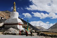 Rongbuk Monastery, in the background is the Qomolongma/Mount Everest Lower Than, Sea Level, Highlands, Heavenly, Statue Of Liberty, Mount Everest, Shelter, The Good Place, Around The Worlds