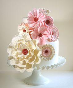 pretty...Edible Sugar Vintage Inspired Button Rosettes