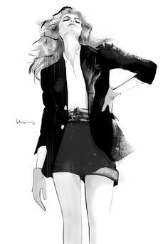 Black & white fashion illustration, chic blazer & shorts outfit sketch // Floyd Grey