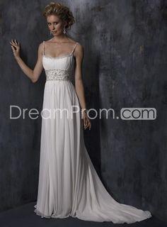 Gorgeous Empire Spaghetti Straps Sleeveless Beaded Chiffon Court Train Wedding Dresses