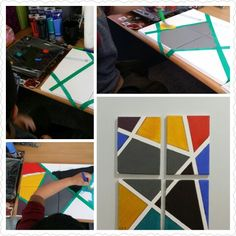 Easy abstract colour block paintings on canvas. Nice bright addition to our art display wall.
