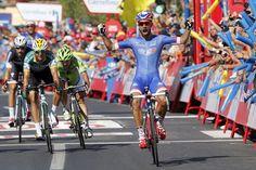 Vuelta a España 2014 - Stage 2: Algeciras - San Fernando 174.4km - Nacer Bouhanni (FDJ.fr) salutes victory in San Fernando