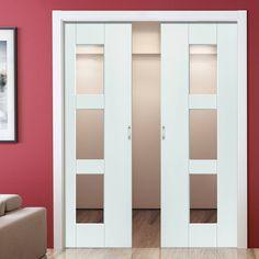 Double Pocket Symmetry Geo White sliding door system in three size widths with Clear Glass. #symmetrydoor #geodoor #slidingdoor
