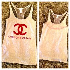Crimson & cream OU tank with lace $36 www.royceclothing.com