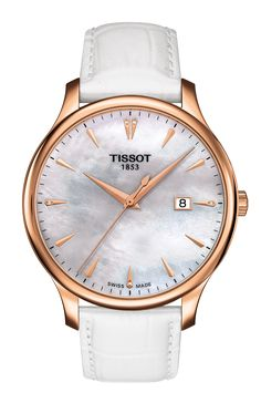 Tissot Ladies Tradition Quartz Watch with White Mother of Pearl Dial and White Leather strap