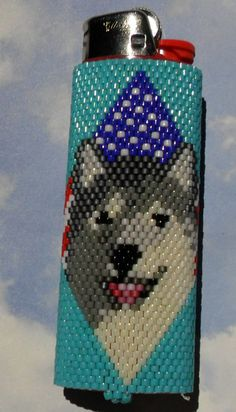 USA Flag Wolf Beaded Lighter Cover by SoaringHawkTraders on Etsy