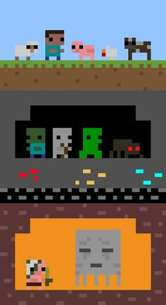 1st Level: Sheep, Steve, Pigs,Chickens, Cows...2nd Level:Zombies Skeletons, Creepers, Spiders...3rd Level: Redstone ore, Gold ore, Diamond ore<>4th Level: Bedrock<>5th Level Ghasts, Zombie Pigman, Lava<><><><><><><><><><><><><><><>