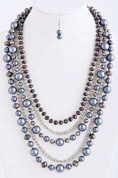 pearl multi chain necklace