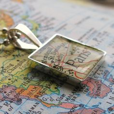 Vintage Map Sterling Necklace : : You select any place in the world