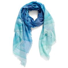 Women's Nordstrom Prismatic Color Play Cashmere & Silk Scarf ($99) ❤ liked on Polyvore featuring accessories, scarves, blue combo, ombre scarves, nordstrom scarves, silk scarves, blue shawl and blue silk scarves