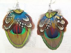 unique peacock feather earrings by pluckyou