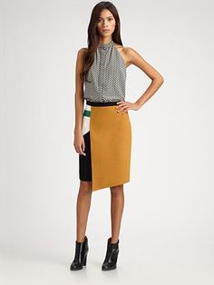 Another shot of that asymmetrical color-block skirt I like.