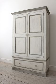 Double Pine Wardrobe painted in a shabby chic by inspiritdeco