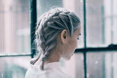tresse cheveux courts boxer braids cheveux gris #hairstyles