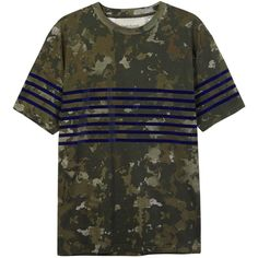 Casely-Hayford Brenton camouflage-print cotton T-shirt (2.725 ARS) ❤ liked on Polyvore featuring men's fashion, men's clothing, men's shirts, men's t-shirts, mens camouflage shirts, mens striped shirt, mens camo long sleeve t shirts, mens cotton t shirts and mens striped t shirt