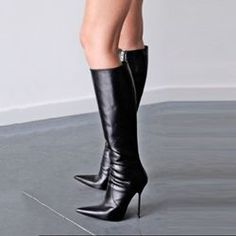 dd99033c9fc Shoespie Stylish Black Pointed Toe Stiletto Heel Knee High Boots http   www.