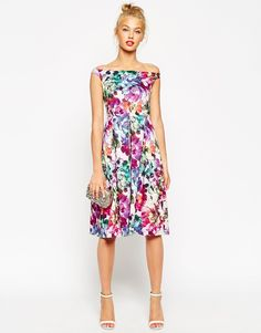 ASOS+Beautiful+Floral+Midi+Prom+Dress
