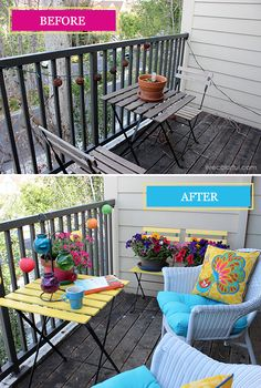 Small Patio Makeover. Before and After via Live Colorful