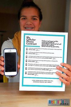 Phone Contract for Kids Cell Phone Contract for Kids - Creating Cell Phone Guidelines for your Teens - Parenting Tips Parenting Teens, Parenting Advice, Parenting Classes, Parenting Styles, Parenting Websites, Foster Parenting, Parenting Quotes, Education Positive, Mentally Strong